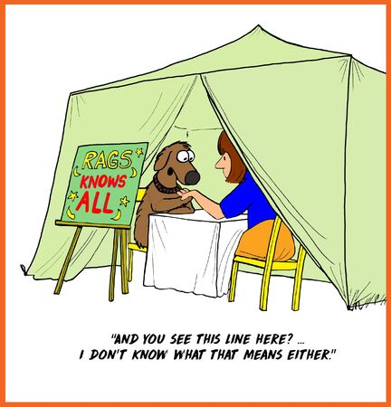 Cartoon of dog gypsy reading palms, but he does not know what the lines in the palm mean.