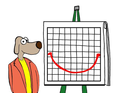 Color cartoon of a business woman dog and a smiley face report. Reklamní fotografie