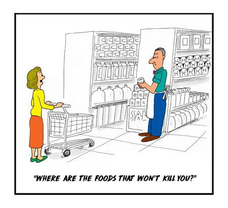 Cartoon of a woman shopping in a grocery store and asking the clerk where are the foods that will not kill you? Reklamní fotografie