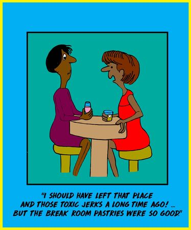 Color cartoon of two african-american women talking and one is saying she would have resigned from her job a long time ago, but she like the break room pastries. Reklamní fotografie