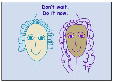 Color cartoon showing two smiling and ethnically diverse women stating do not wait, do it now. Reklamní fotografie