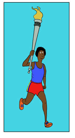 Color cartoon of an African-American woman running and carrying a   torch.