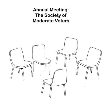 Cartoon showing empty chairs at the Annual Meeting of the Society of Moderate Voters. Reklamní fotografie