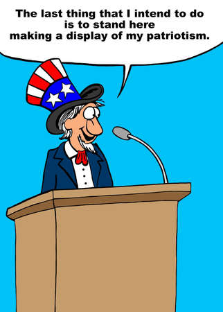 Speaker denies that he is being nationalistic even though he is dressed as Uncle Sam.