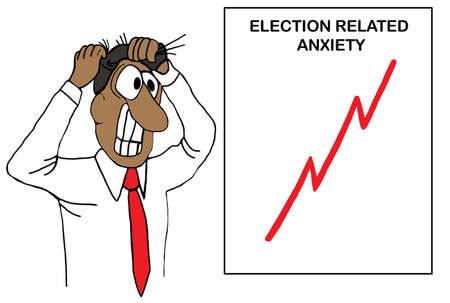 Color cartoon showing an African-American man pulling his hair out due to election anxiety, the chart on the wall shows his level of anxiety.