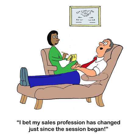 A sales man in therapy complains about the rapid changes in the sales profession