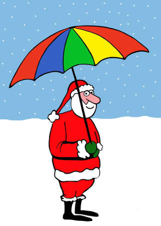 Santa Claus holds a multi-colored umbrella at the north pole.