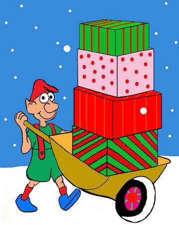An elf pushes a wheelbarrow full of Chistmas presents