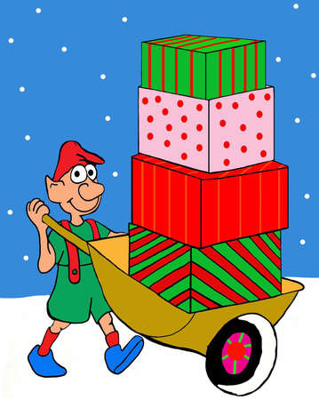 An elf pushes a wheelbarrow full of Chistmas presents