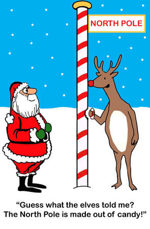 Rudolph enjoys a bite of a North Pole made out of candy