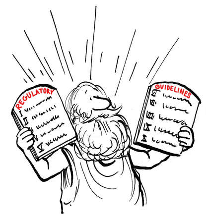 Moses holds up new federal regulation guidelines.