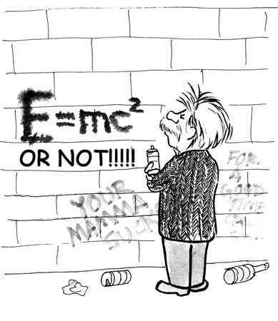 Cartoon of Einstein making graffiti of famous E = mc squared equation. Redakční