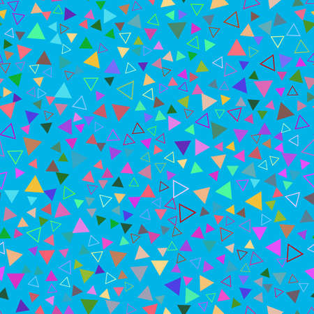 Abstract geometric seamless pattern with multicolored triangles on a light blue background. Illusztráció