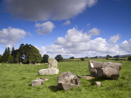 felled: Part of a felled tree at Long Meg and her Daughters stone circle near Lazonby, Cumbria, England