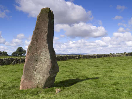 druid: Long Meg is the matriarch of the Long Meg & her Daughters stone circle in Cumbria, England. Here, she is viewed from inside the circle with a druid sacrifice at her foot (feet?!) The poet William Wordsworthg was inspired to write next to Stonehenge it
