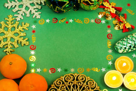 Christmas frame for text, Christmas decorations, mandarins, Christmas decorations, snowflakes, candles