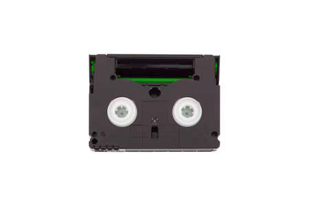 mini DV cassette, videotape, rear view, white background, isolated.