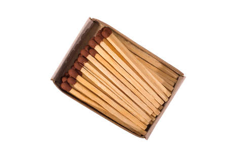 Matches in box, isolated, on white background