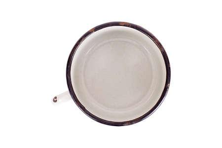 old enameled mug, top view, isolated, on white background Stock Photo