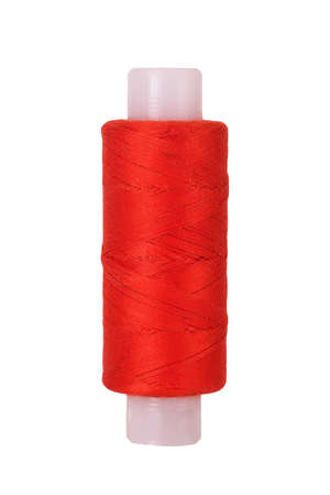 Red thread coil, on white background, isolated Imagens