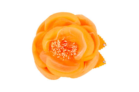 Rose fabric, orange with beads on white background, isolated