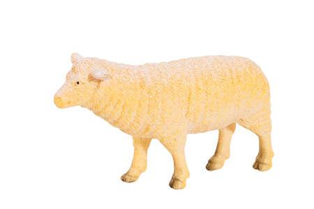 Plastic toy sheep on white isolated background Stock Photo