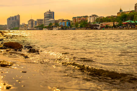 River at sunset and view of the evening city. Rostov-on-don.