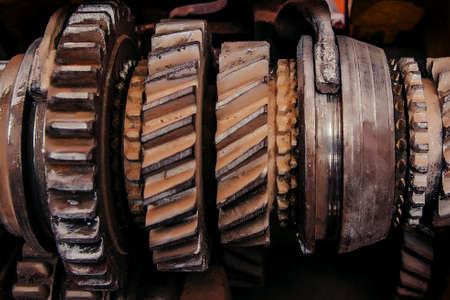 Large toothed gear closeup. Gear motor