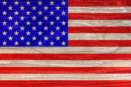American flag with wood texture
