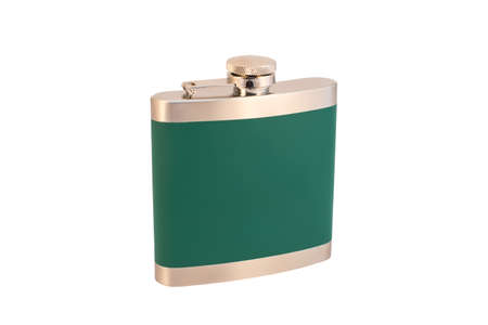 Iron flask for alcohol green color and silver lid on a white background, isolated 版權商用圖片