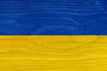 Ukrainian flag with wood texture. Flag of Ukraine on a wooden texture Stock fotó