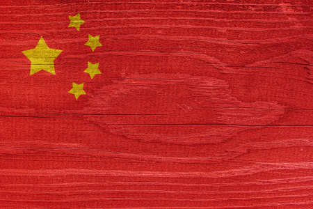 Chinese flag with wood texture. China flag on wood texture
