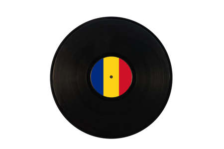Gramophone record with the flag of Romania. Romanian music. Vinyl record with the flag of Romania, on a white background, isolated