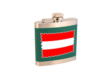 Flask for alcohol with the flag of Austria. Austrian alcohol 免版税图像 - 150143321