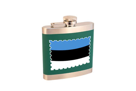 Flask for alcohol with the flag of Estonia. Estonian alcohol