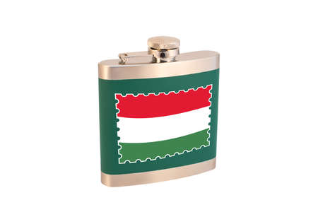 Flask for alcohol with the flag of Hungary. Hungarian alcohol 版權商用圖片
