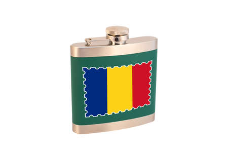 Flask for alcohol with the flag of Romania. Romanian alcohol Foto de archivo - 150118779