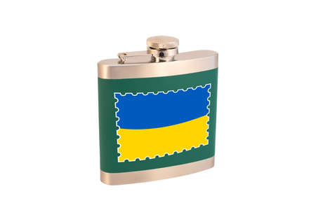 Flask for alcohol with the flag of Ukraine. Ukrainian alcohol
