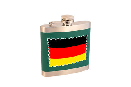 Flask for alcohol with the flag of Germany. German alcohol.