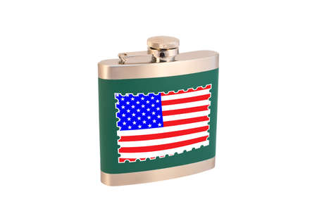 Flask for alcohol with the flag of the United States of America. American alcohol.