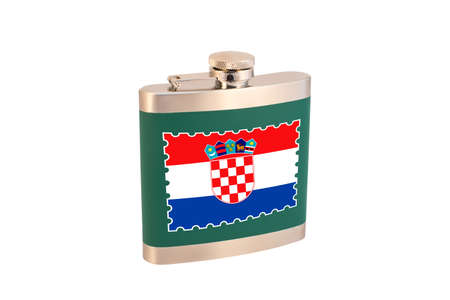 Flask for alcohol with the flag of Croatia. Croatian alcohol