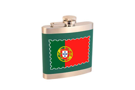 Flask for alcohol with the flag of Portugal. Portuguese alcohol