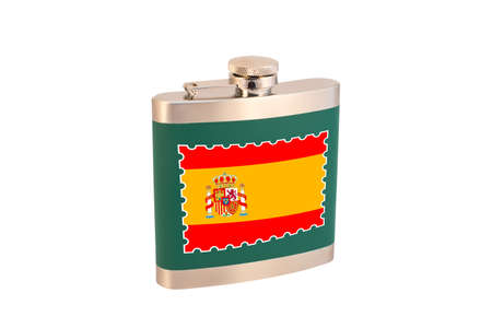 Flask for alcohol with the flag of Spain. Spanish alcohol