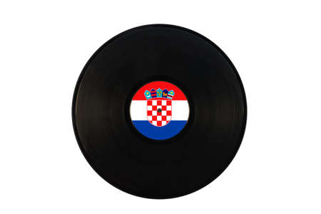Gramophone record with the flag of Croatia. Croatian music. Vinyl record with the flag of Croatia, on a white background, isolated Standard-Bild