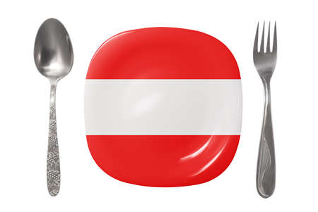 Plate with the Austrian flag. An empty plate with a spoon and fork on a white background. Isolated image 免版税图像 - 150381057