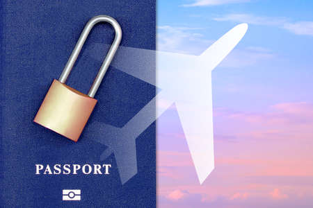 Foreign passport and padlock on the background of the silhouette of the plane and the sky. Ban on departure from the country. Departure for the border is closed.Ban on entering the country