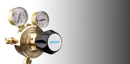 Cut out of oxygen regulator gauge on white background
