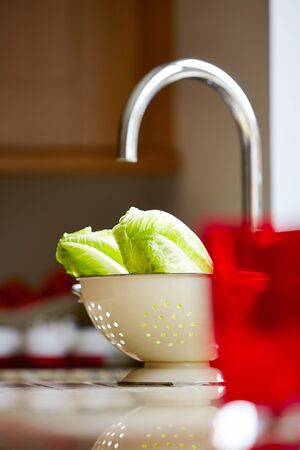Shot of cabbage leaves in a washing bowl over kitchen counter Stockfoto