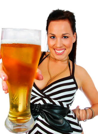 busty brunette holding a pint of beer Stock Photo - 1576427