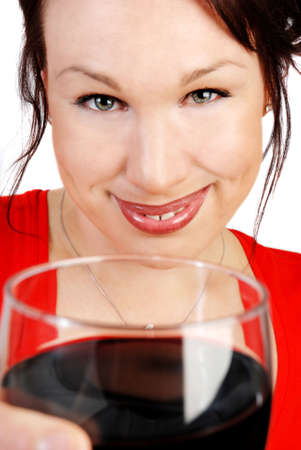 attractive woman with a glass of red wine photo